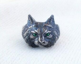 Lynx Head.Lynx Ring.Cat Ring.Bobcat Ring.Animal Totem.Animal Ring.Lynx Charm.Lynx Necklace.Bobcat Necklace.Bobcat Charm.Cat Charm.Gift