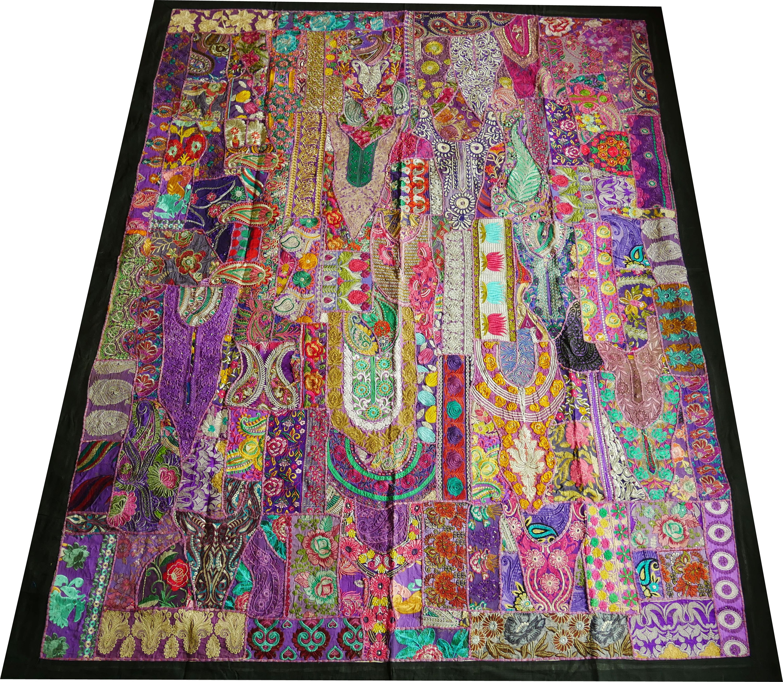 Image of: Indian Bedding Boho Rainbow Saree Patchwork Quilt Etsy
