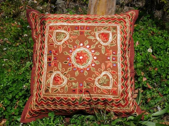 Floor pillow cover 16x16 square floor cushion Shanti Gypsy Indian floor pouf NO INLET blue meditation cushion