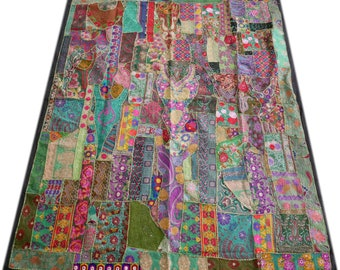 "Boho patchwork quilt ""free spirit"" bohemian bedspread ,Indian bedding, hippie tapestry, multicolor  patchwork quilt bohemian gypsy throw"