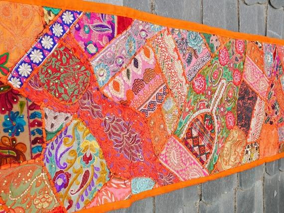 tenture indienne vintage tapisserie de patchwork de sari etsy. Black Bedroom Furniture Sets. Home Design Ideas