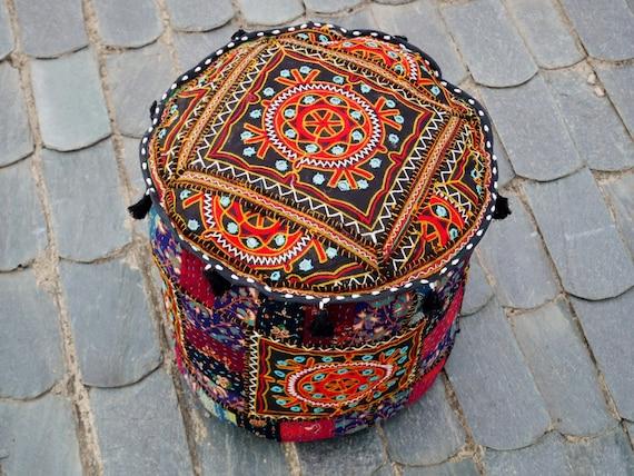Ronde Leren Zitzak.Boho Patchwork Vloer Kussen Kussen Zitzak Dekken Indische Oriental Grote Ronde Kussen Ottomaanse Shanti Hippie Zigeuner