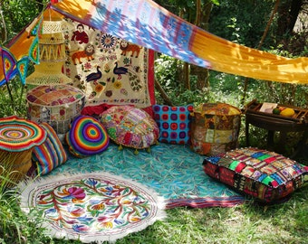 Hippie decor SET floor seating area   Boho canopy with decorative cushions and floor pillows   unique bohemian home decor   meditation room