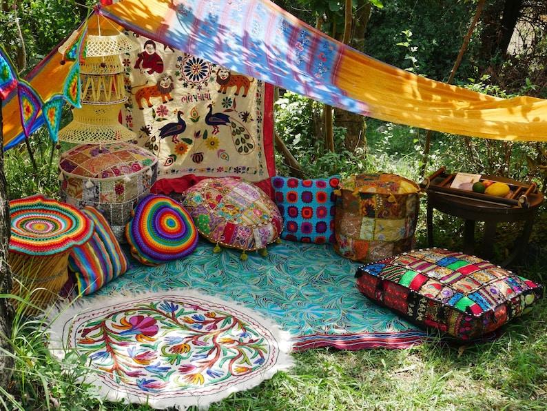 Hippie decor SET floor seating area Boho canopy with | Etsy