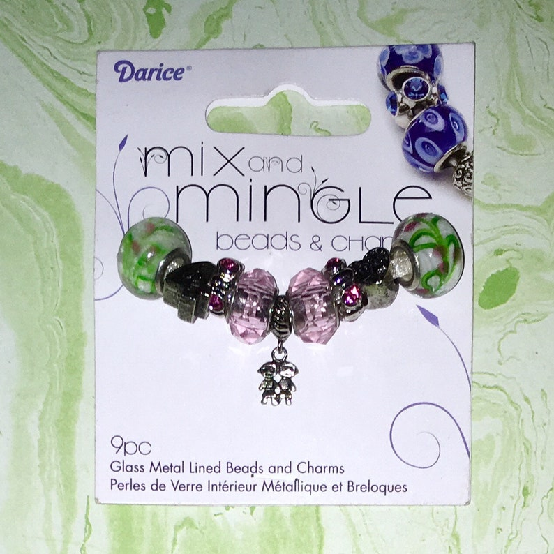 9 Piece Darice Mix and Mingle Glass Metal Lined Beads and Charms in Friends BFF Themed.