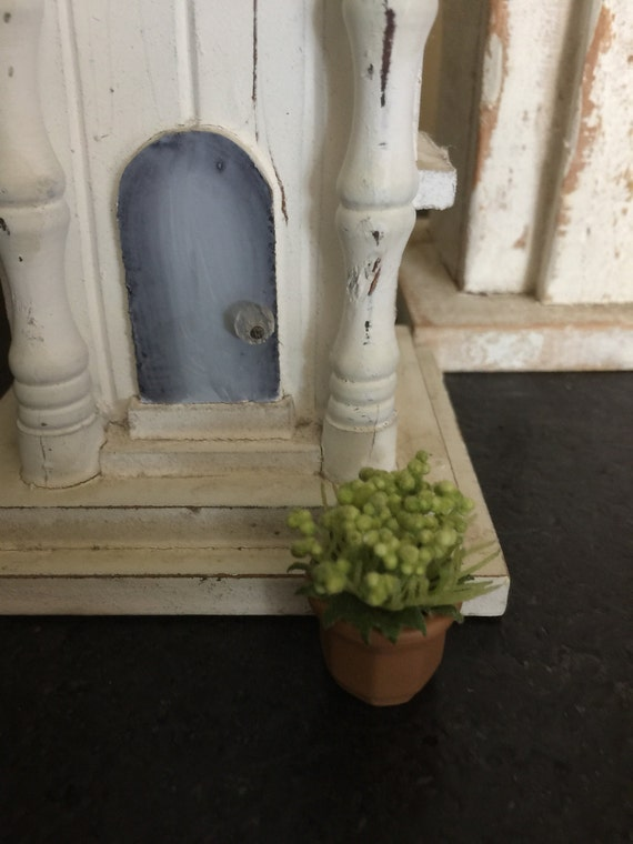 1:12 Dollhouse Miniature Potted House Plant White Queen Caladium
