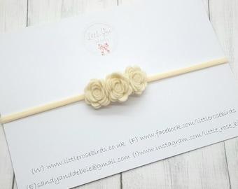 ac87c54e2284 Ivory Baby Headband - Rose Headband - Christening- Christening Headband -  Wedding Hair - Baby Bows - Flower Crown - Girls Hair Accessories