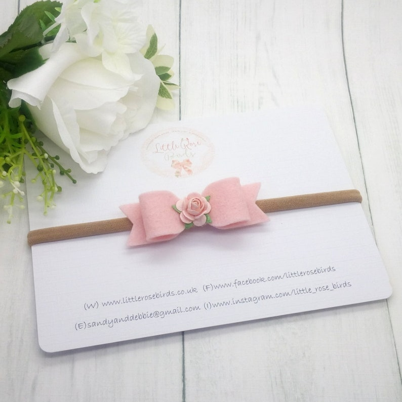 Baby Headband Small Bow -Hairclip Baby Bows Girls Hair Accessories Christening Headband Blush Pink Small 2.5 Felt Flower Hair Bow