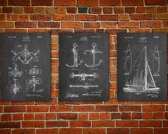 Sailboat blueprint etsy sailboat art nautical wall art patent print group patent print set yacht art nautical blueprint boat captain gift set of 3 malvernweather
