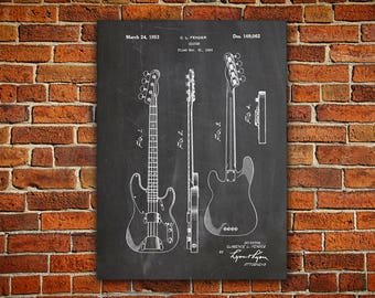 Precision Bass Canvas PaintingFender Guitar ArtFender DecorJazz GuitarFender Wall ArtBass BlueprintFender Decor