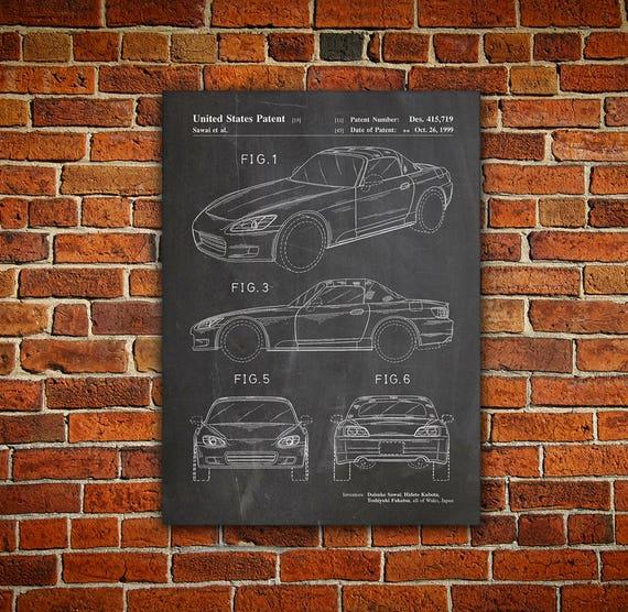 Poster Sports Car 1999 Patent Art Print Honda S2000 Blueprint Man Cave Decor
