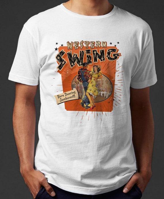 Western swing tshirt women men country cowgirl cowboy barn line dance jamboree 50s retro rockabilly top white graphic tee fifties vintage