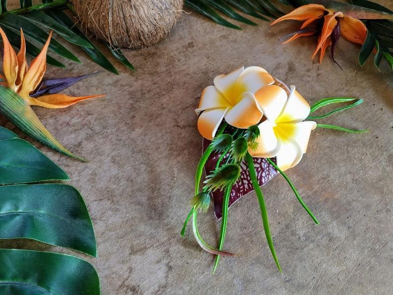 Plumeria hair flower clip orange slice frangipani fruit hairpiece tropical tiki pinup rockabilly headpiece accessory hawaiian polynesian