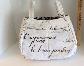 Chic Handbag, Fabric Handbag, Grey Handbag, Medium Handbag