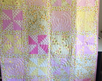 Baby Quilt, Toddler Quilt, Baby Girl Quilt, Large Baby Quilt, Pink Crib Quilt