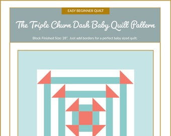 Triple Churn Dash Quilt Block Pattern