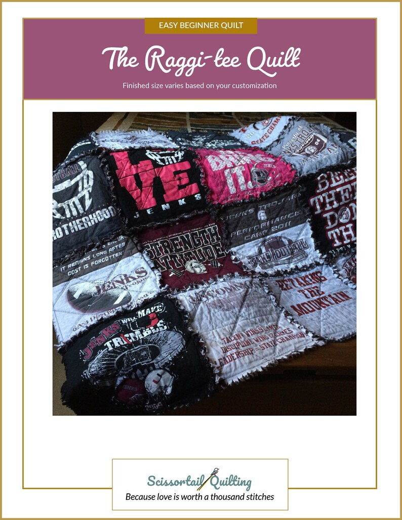 Raggi-tee Quilt Pattern  a Raggy T-shirt Quilt  DIY T-shirt image 0