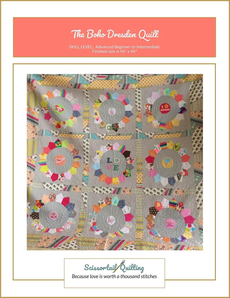 Boho Dresden Quilt Pattern  Downloadable PDF  Dresden Plate image 0