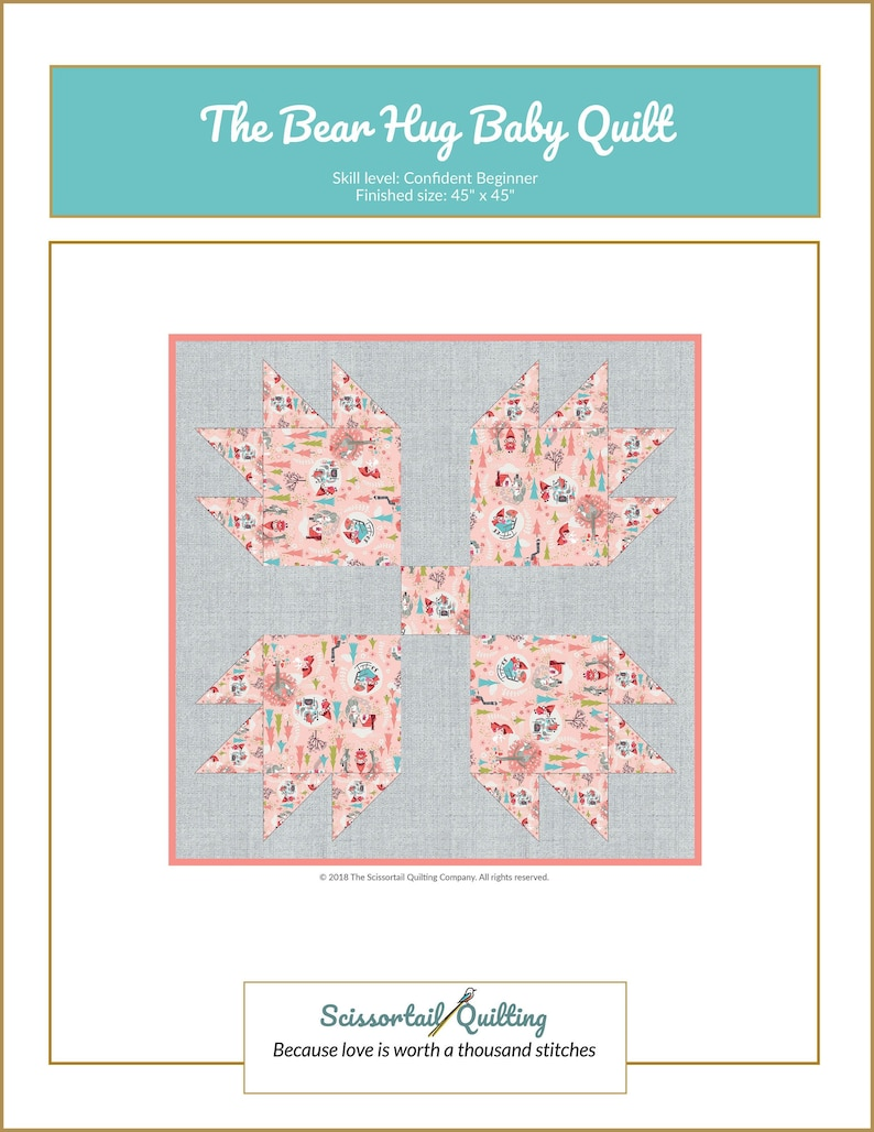 The Bear Hug Baby Quilt Downloadable Pattern  Baby Quilt  image 0