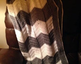 Gray and White Chevron blanket