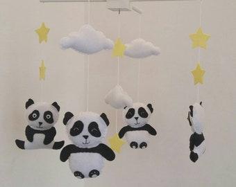 Pandas with yellow stars nursery mobile- unisex nursery mobile f6e4cbdc902