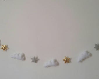 Clouds and stars garland, clouds bunting, clouds and stars nursery decor