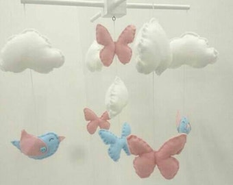 Birds and butterflies baby mobile -cute nursery mobile