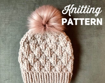 ca6ca738239 Knitting Pattern    Chunky Knit Beanie Pattern    Knitted Hat Pattern     THE GEMMA BEANIE