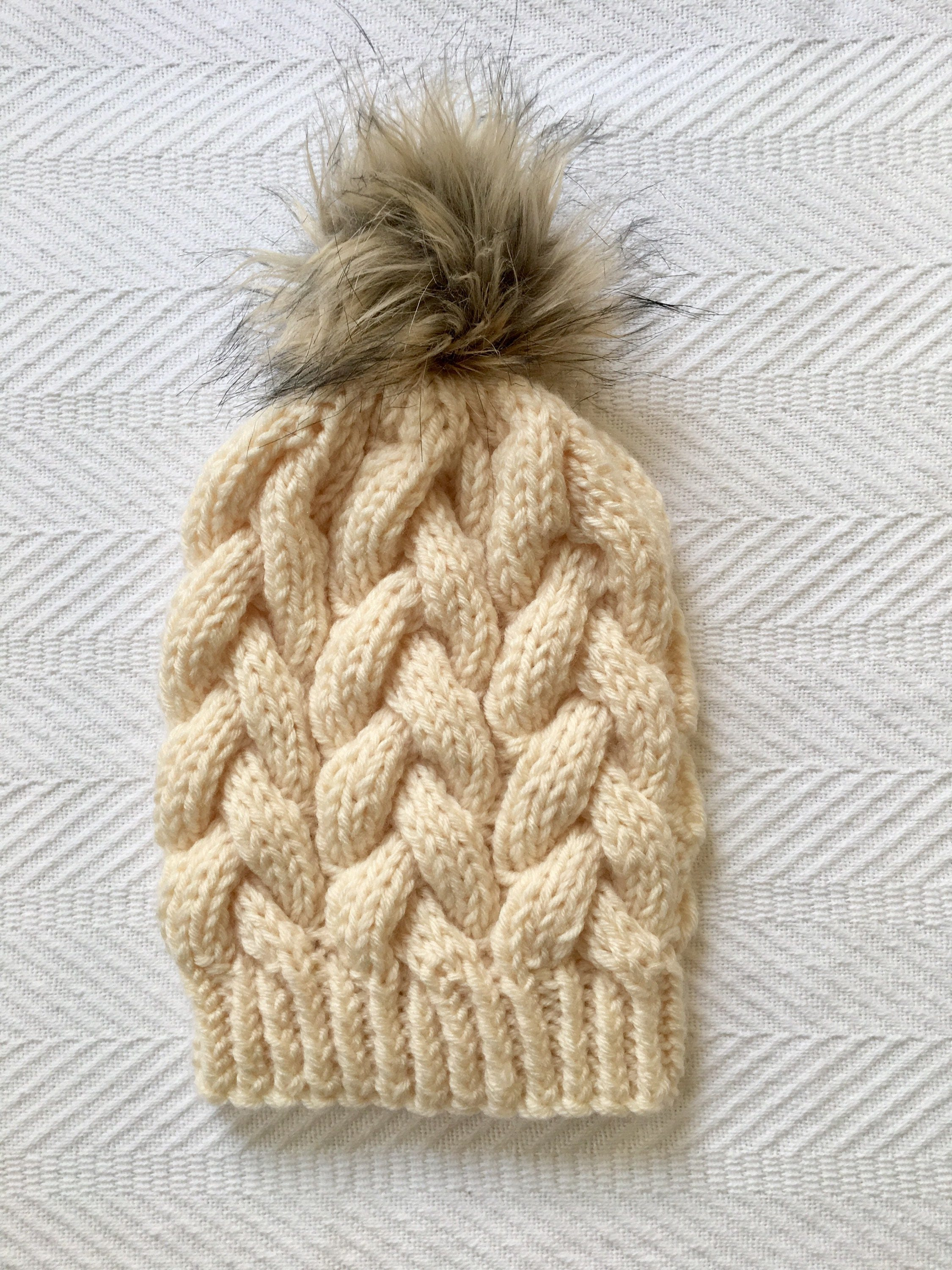 Ready to Ship! Braided Cable Beanie // Chunky Knit Beanie // Cream