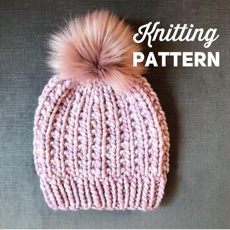 7e59f9812b0 Knitting Pattern    Chunky Knit Beanie Pattern    Knitted Hat