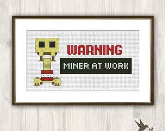 Warning Miner At Work Cross Stitch Pattern, Minecraft Lovers Gift, Gamer Cross  Stitch Pattern, Miner Cross Stitch Pattern