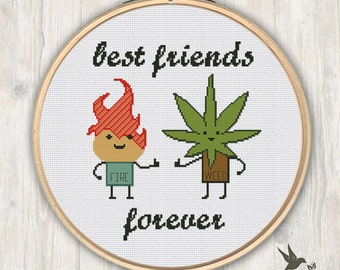 Poop Toilet Paper Friends Forever funny cross stitch pattern