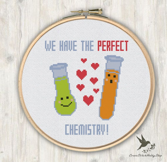 We have the perfect chemistry funny cross stitch pattern, modern cross  stitch pattern, chemistry cross stitch pattern, needlecraft