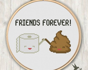 Poop Toilet Paper Friends Forever, funny cross stitch pattern, modern cross stitch pattern, poop cross stitch pattern, needlecraft