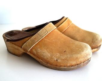 a267187d6e7b75 Jahrgang braun Leder Holz Clogs Größe EUR 37 echt Leder Schuhe hölzerne  Plattform Clogs schwedische Schuhe Boho Festival Schuhe Schweden Clogs