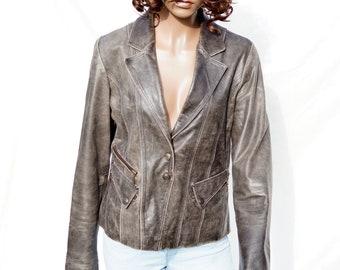 Gray real Leather short Jacket Women's moto crop leather Jacket Vintage gray genuine leather Blazer SIZE L Retro Fashion Retro Outerwear