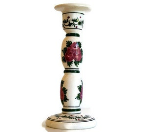 Ceramic candleholder Designers ceramic art Table centerpiece Floral design White red and green Handmade candle holder in  Capithos Cyprus