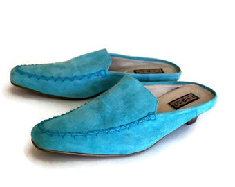 57007fc68bd Womens slippers light blue leather shoes by T.A.P.A.S. Real Leather slipper  shoes Blue Slippers Shoes Size 38 Genuine suede leather shoes