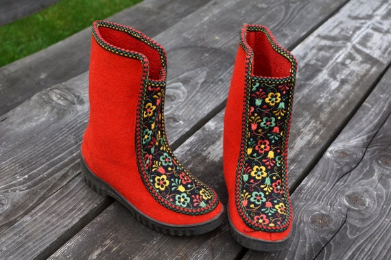 Vintage leather ankle boots Red womens Nordic Wint