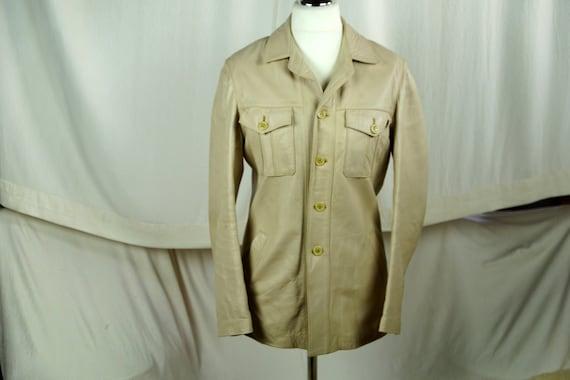 Men's beige leather jacket Vintage leather jacket