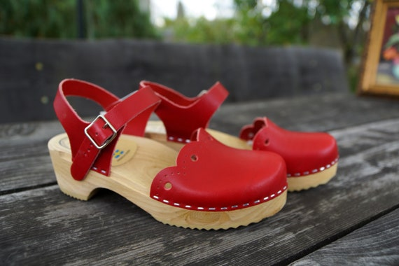 Wood clogs Boho shoes Vintage wooden clogs Eur 37