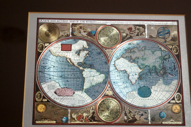 A New And Accvrat Map Of The World 1626.A New And Accvrat Map Of The World Vintage 1626 World Map Horn Etsy