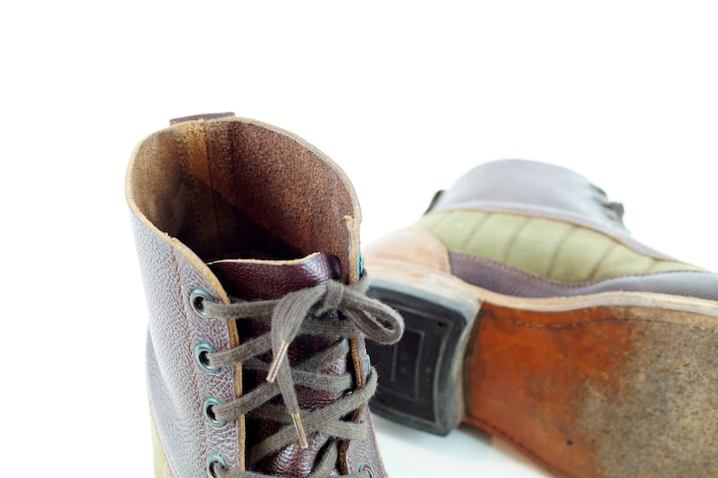 excellent condition square toed hiking boots, leather Weron boots canvas 1960s  SWEDISH MILITARY BOOTS Tretorn quality work boot