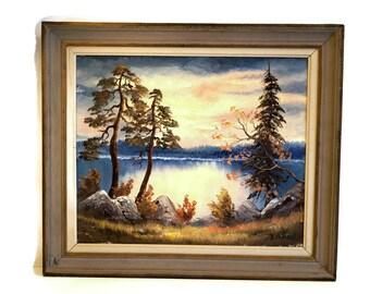 Original Swedish vintag Oil painting Still life Landscape Painting on canvas Original signed painting Original artwork Scandinavian wall art