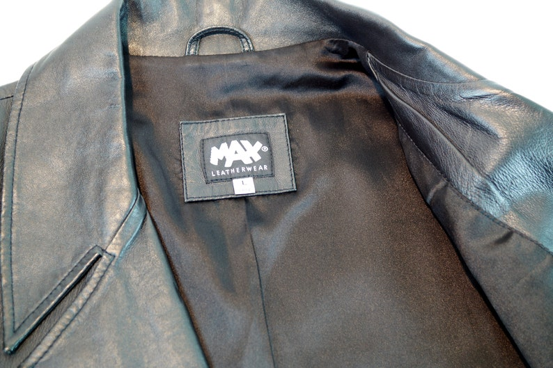 Vintage Leather Parka Coat MAX Leather Jacket L Size Genuine Leather Jacket Black Leather Jacket Made in Italy Fashion Trench Coat