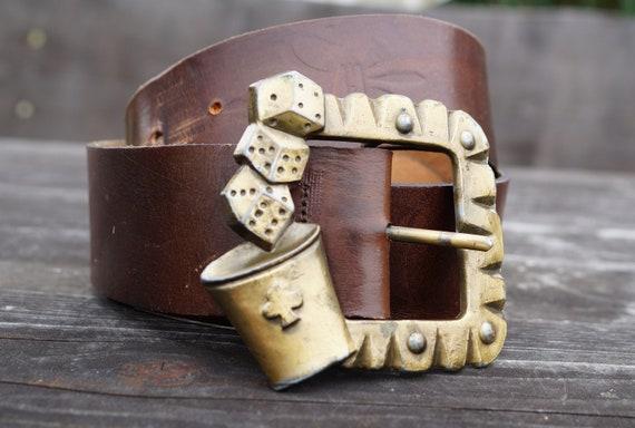 Vintage Brown leather belt Very thick leather belt Genuine leather belt with solid brass buckle Made in Sweden 117 cm Gamer belt