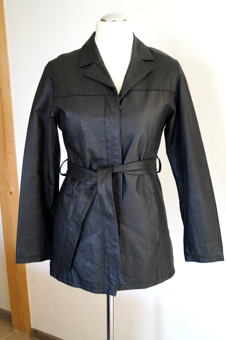 f90e43536 Vintage 90s Leather Trench Coat Black color Leather Jacket Genuine Leather  Jacket with removable belt Leather Jacket 12 Size Made in England