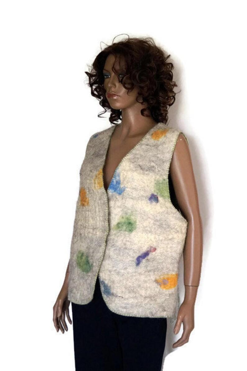 323b2293983 Vintage Womens Gevilte Vest wol vilt vacht vilten jas Gevilte | Etsy