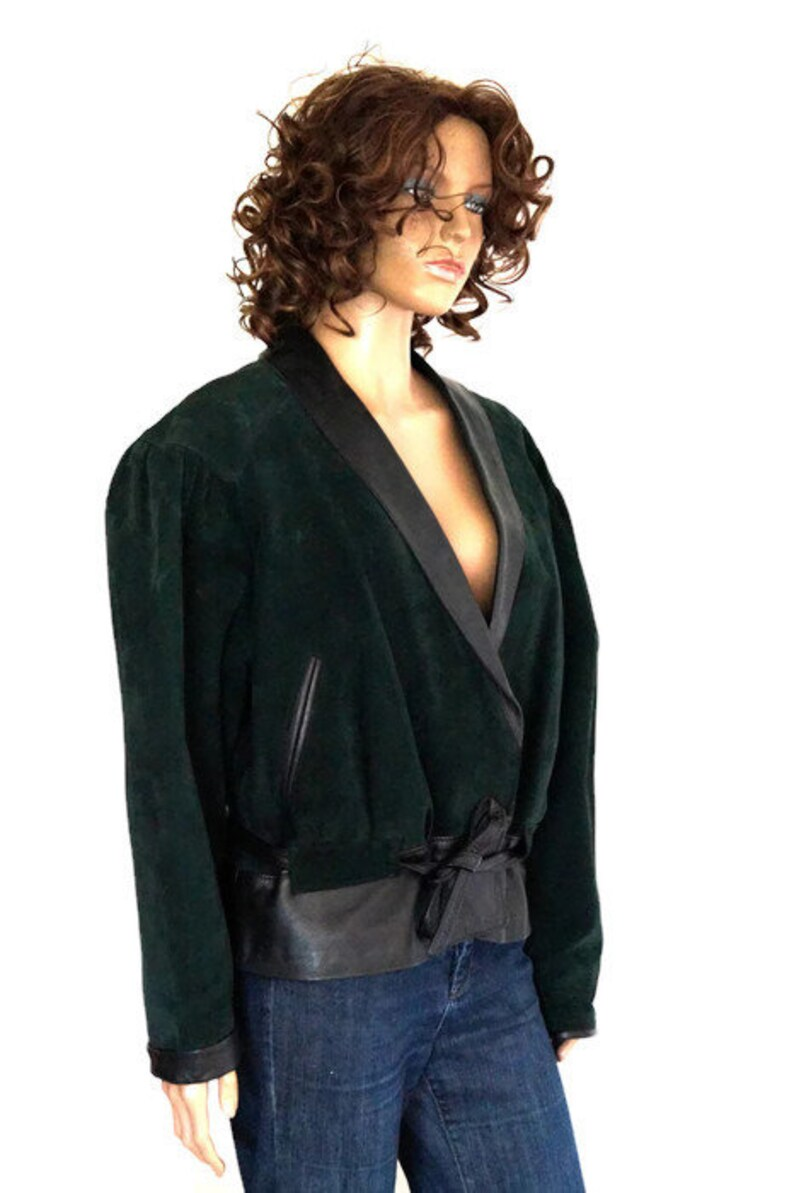 5e5036b28 Leather Jacket.Real genuine green suede and black Women leather Jacket.Made  in Spain DIORELA Outer Coat,Blazer. Leather Cardigan. Size 42
