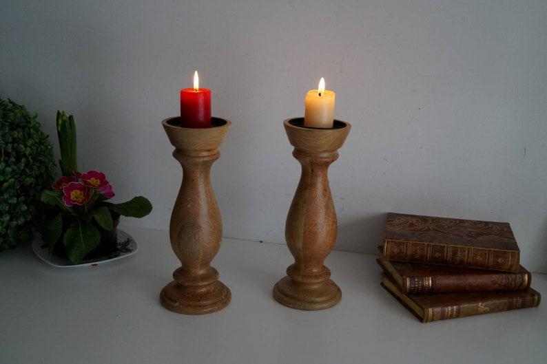 Swedish Vintage Candleholders Set of two wood candle holders Scandinavian folk art candlestick holders Massive solid wood candleholders set